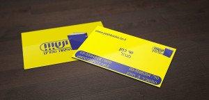 כרטיס ביקור צהוב כחול